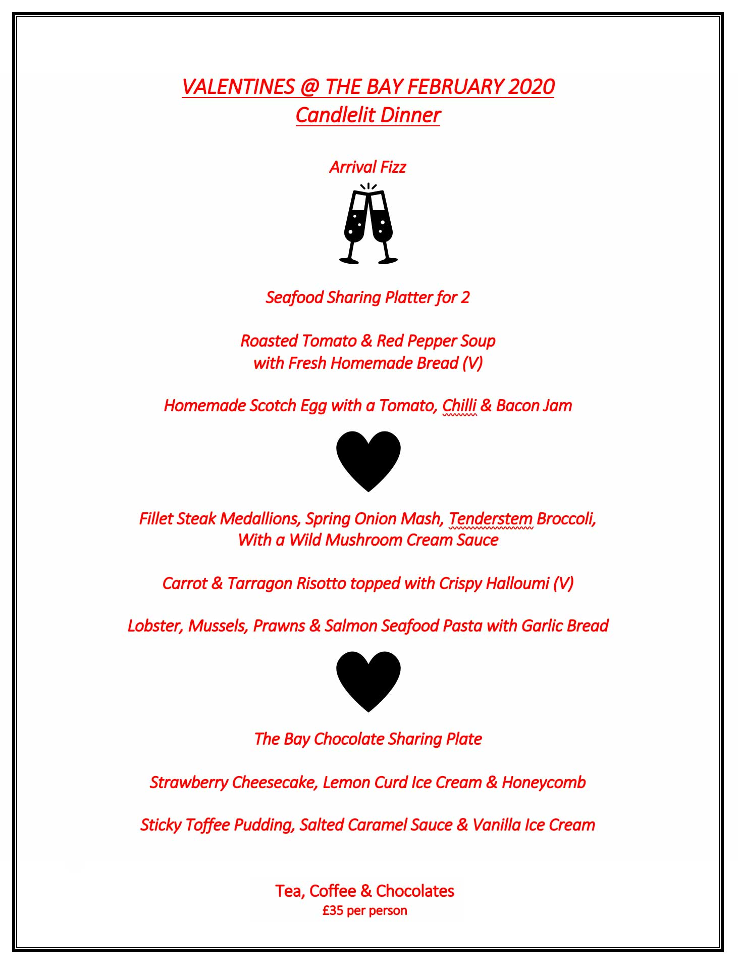 Valentine's Day Menu 2020 @ The Bay